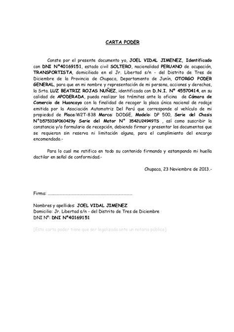 formato de poder notarial carta poder formato general carta poder