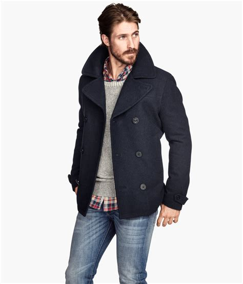 men s lyst h m peacoat in a wool blend in blue for men