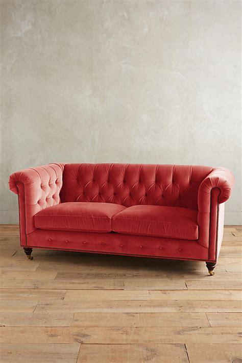 anthropologie sofa velvet lyre chesterfield petite sofa hickory anthropologie