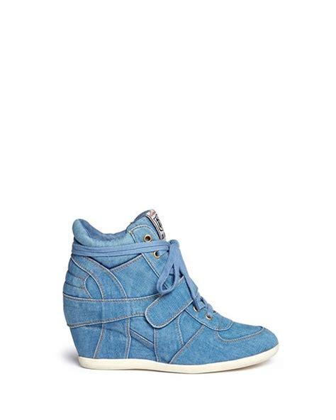 Sneaker Wedges Ash Denim ash bowie denim concealed wedge sneakers in blue blue