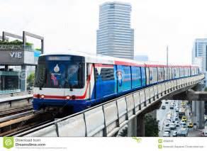 bts skytrain on elevated rails in central bangkok