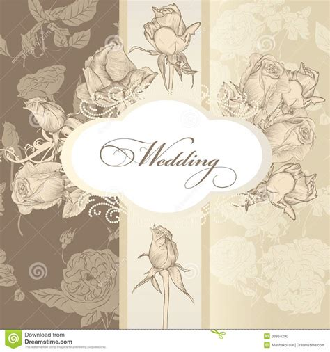 Wedding Invitation Letter Vector Free Wedding Invitation Card In Vintage Style Stock Photo Image 33964290