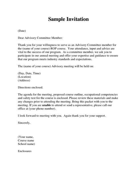 Invitation Letter For Attending Meeting invitation letter attend meeting letters free sle letters