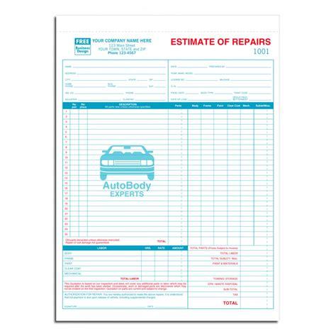 Printable Auto Body Repair Estimate Forms Hardhost Info Labor Estimate Template