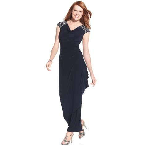 beaded sleeve dress lyst alex evenings beaded cap sleeve gown in blue