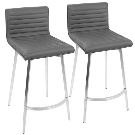 Grey Faux Leather Counter Stools by Lumisource 26 In Grey Faux Leather Swivel Counter