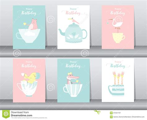 Animal Cards Template Clear by Set Of Animals Poster Template Cards Cats Vector