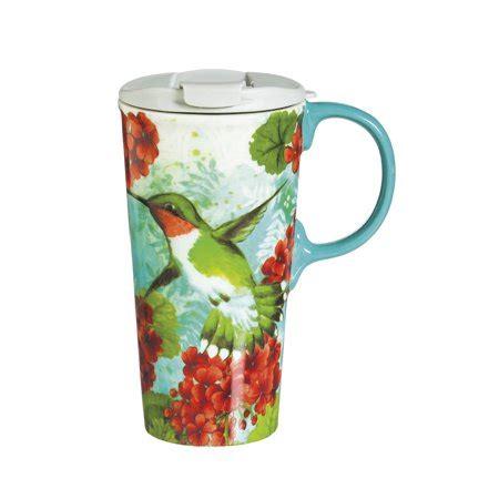 10 12 Ounce Coffee Mugs Ceramic - cypress home hummingbird trio ceramic travel coffee mug