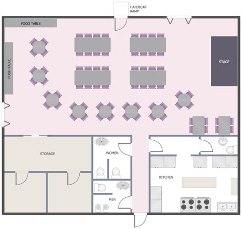 Free Floor Plan Online by Cafe And Restaurant Floor Plan Solution Conceptdraw Com