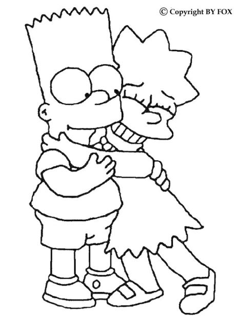 coloring pages of the simpsons christmas bart and lisa coloring pages hellokids com