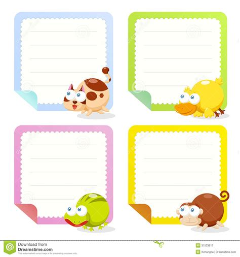 cute animal note papers collection royalty free stock