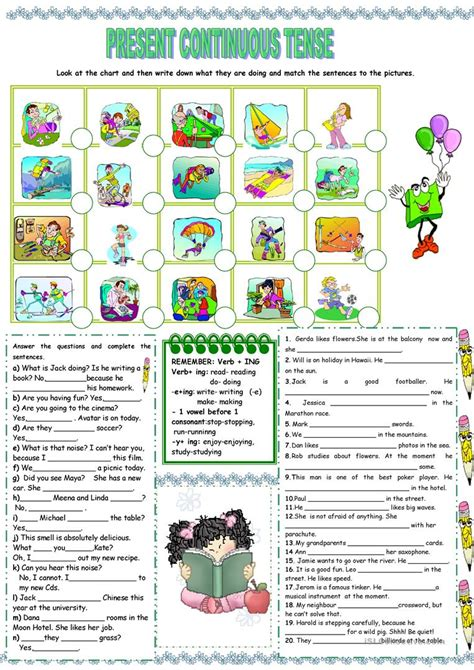 printable worksheets present continuous tense present continuous tense worksheet free esl printable