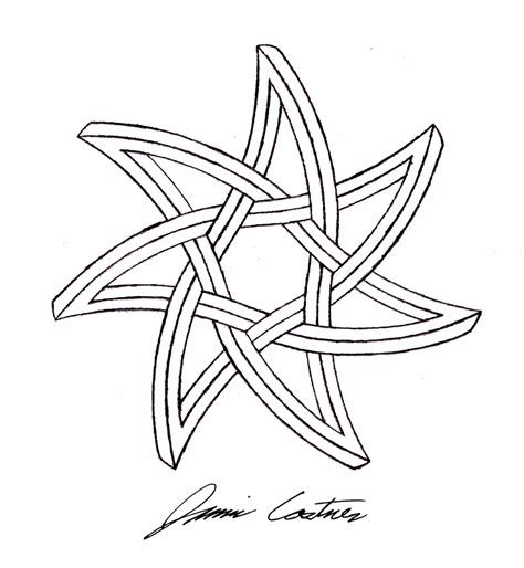 Drawing 9 Pointed by Curved Seven Pointed Impossible By Thecelticpoet On