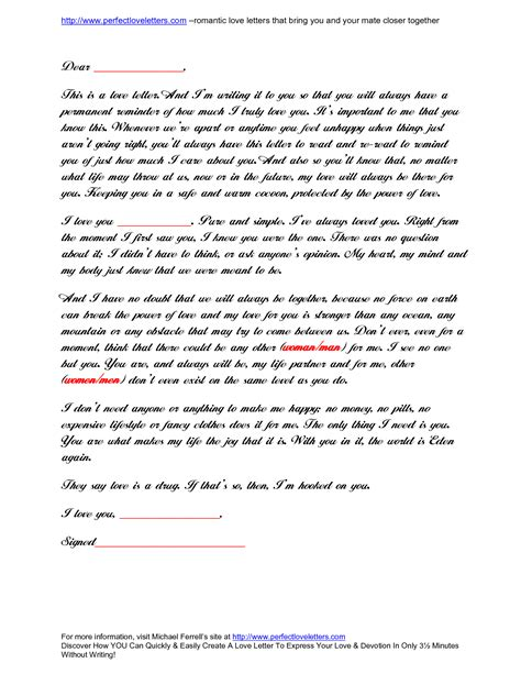 love letter format sle best template collection
