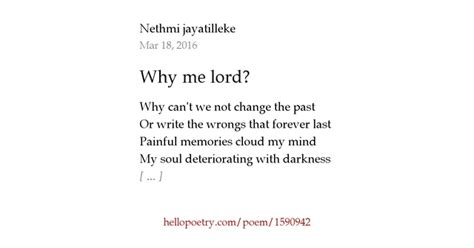 Why Me Why Us by Why Me Lord By Ink Hello Poetry