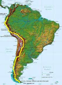 south america map with mountains map of south america mountains