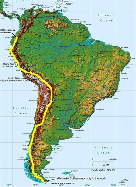 map of america with mountains map of south america mountains