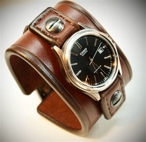 Best Quality Jam Tangan New Dkny Lg Brown leather cuff casio vintage brown bridle leather wrist