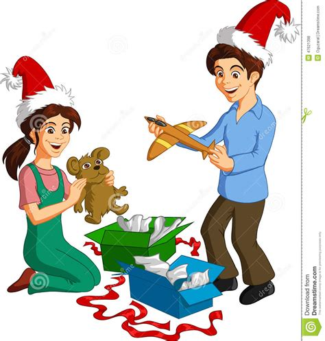 Happy Children With Presents Stock Vector - Image: 47621398 Happy Kids Opening Christmas Presents