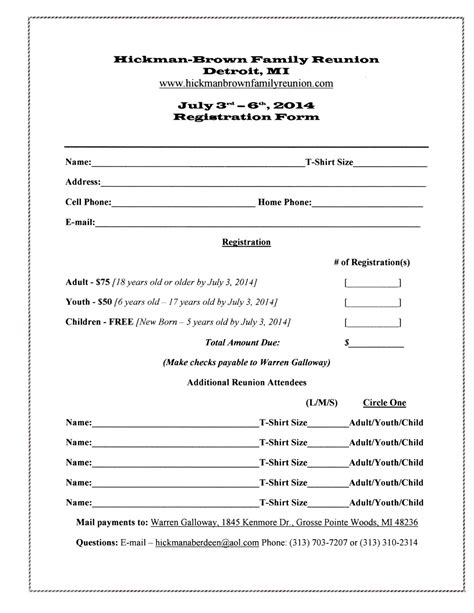 family reunion registration form template 7 best images of family reunion forms printable free