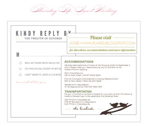 wedding invitation insert templates thursday tip bit