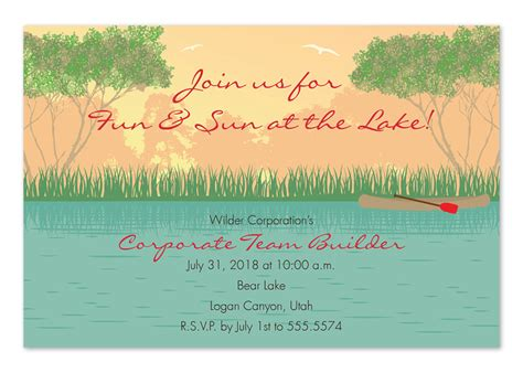 Sunset Lake Party Invitations By Invitation Consultants Ic Rlp 838 Lake Invitation Templates Free