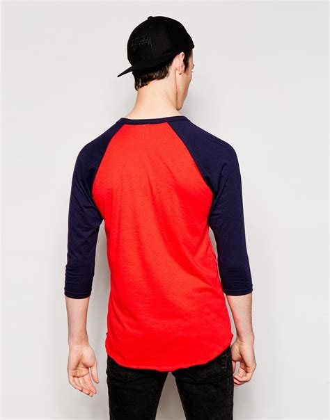 Raglan 05 Ordinal Apparel american apparel 3 4 sleeve raglan t shirt in blue for lyst