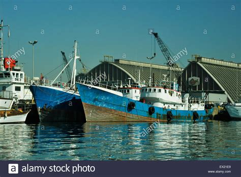 boat fishing in durban harbour scene of two blue fishing boats moored side by side to