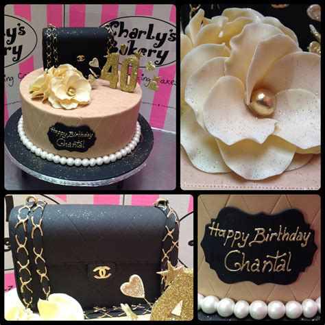 chanel themed 40th birthday cake decorated with 3d quilted