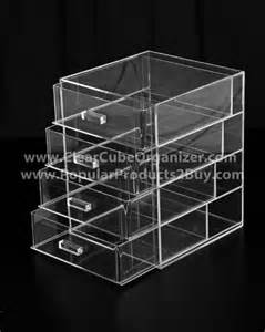 acrylic clear cube makeup organizer w 4 drawers display