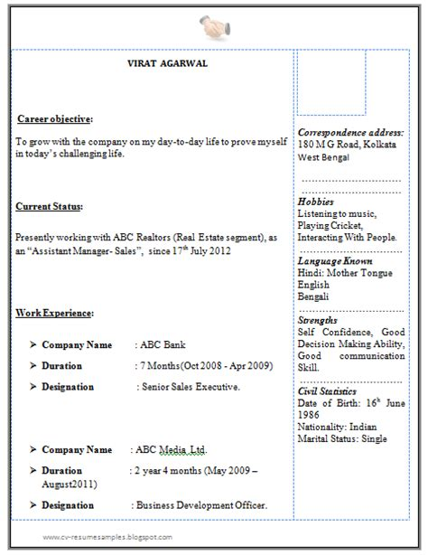 One Page Resume Sles Doc 10000 Cv And Resume Sles With Free Graduate Resume Sle For Sales