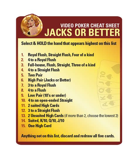 free jacks or better charts free sheets lucky