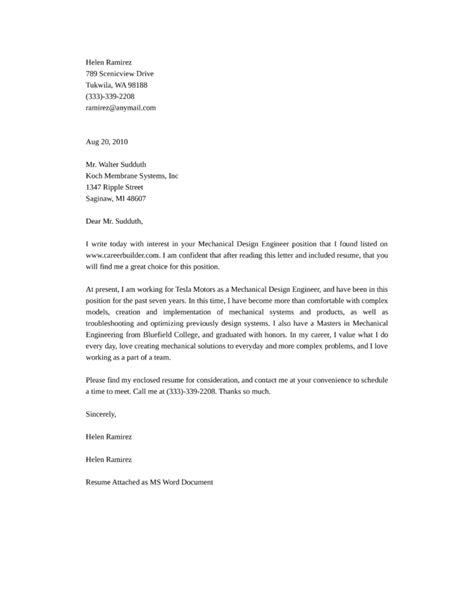 mechanical design engineering cover letter samples