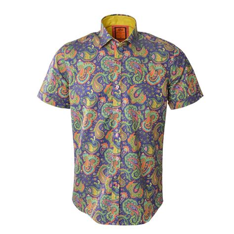 Sleeved Print Shirt oscar banks sleeved paisley print shirt ss6079 the