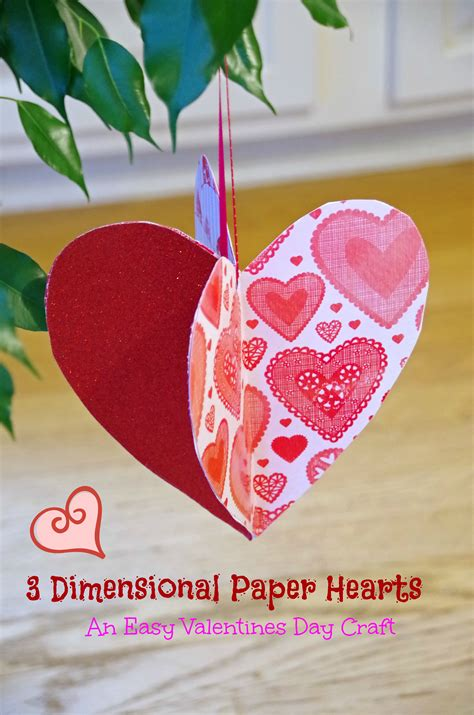 Valentines Day Paper Crafts - easy valentines day craft idea make 3d paper hearts