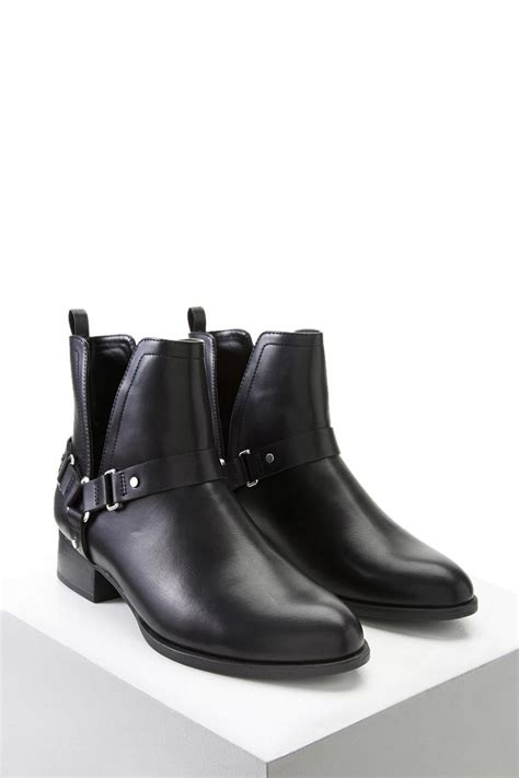 forever 21 ankle boots forever 21 faux leather ankle boots in black lyst