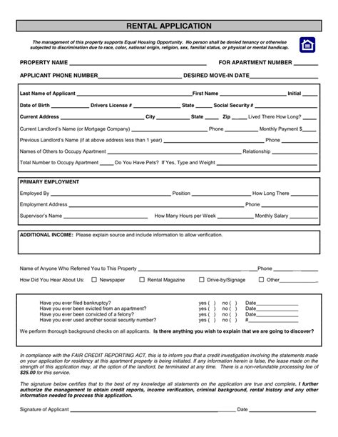 housing rental application template rental application form in word and pdf formats