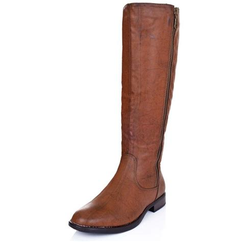 buy top flat zip knee high boots leather style