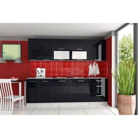 cuisine laque noir cuisine 233 quip 233 e tara 260 cm noir laqu 233 achat vente