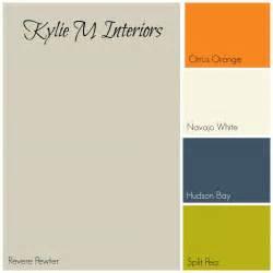 Revere pewter gray paint colour palette with orange cream navy blue