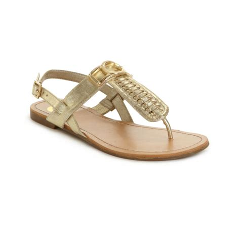 guess flat sandals g by guess lurrela flat sandals in gold lyst