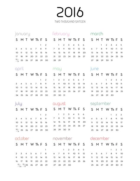 printable calendar 2016 single page 2016 calendar one page pdf yearly calendar printable