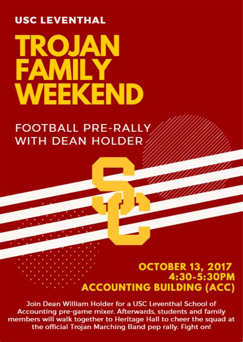 Usc Mba Pm Admissions by Usc Leventhal Trojan Family Weekend Football Pre Rally