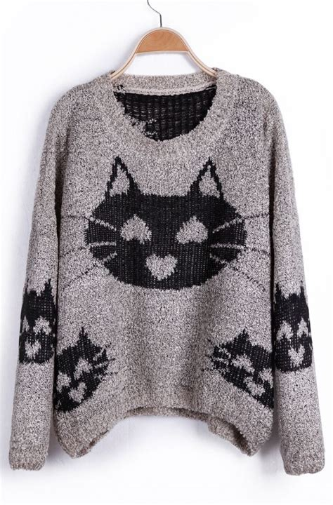 pattern knit cat sweater cat face pattern sweater hearts adorn pinterest