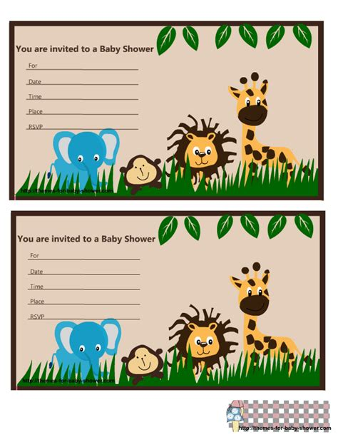 Free Printable Jungle Baby Shower Invitations Free Printable Safari Baby Shower Invitation Templates