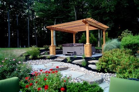tub pergolas tub placed in setting with steps and pergola traditional patio
