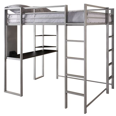 black loft bed with desk abode silver full size loft bed with black desk and
