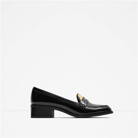 zara loafers zara contrast loafers in black lyst