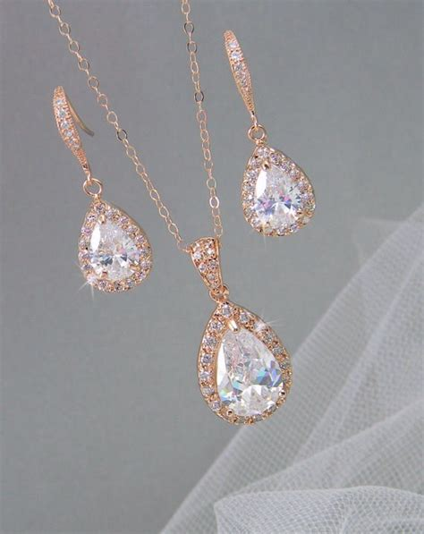 gold bridal set bridesmaids jewelry set by crystalavenues