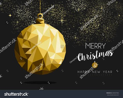 merry christmas happy new year fancy gold ornament bauble